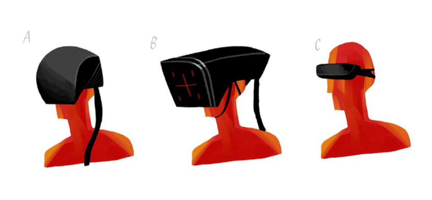 Concepts for how the original 'VR within a game' headsets might look like in SUPERHOT.