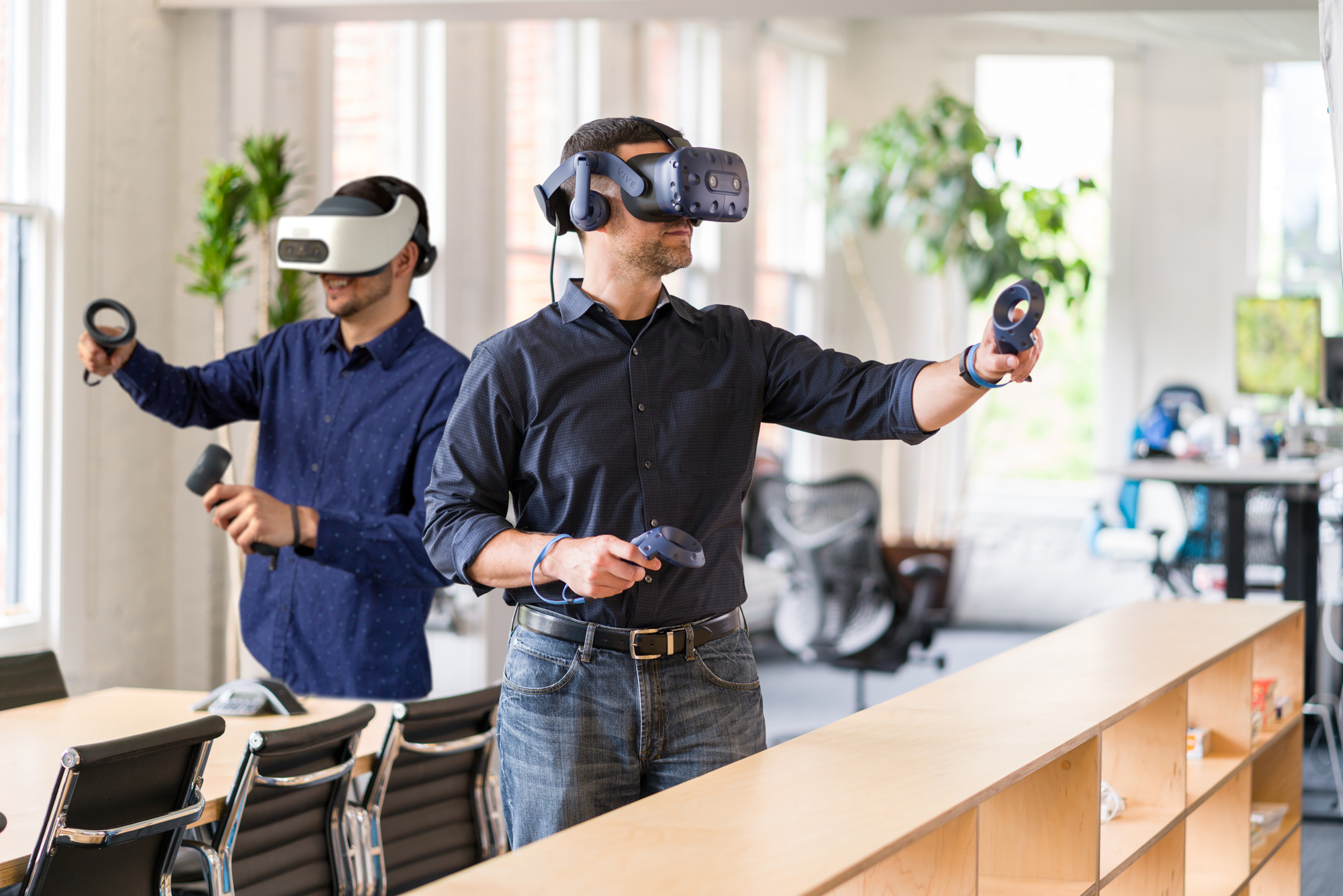 HTC VIVE Pro Eye (PCVR) and VIVE Focus Plus (All-In-One) are terrific VR headsets for your business.